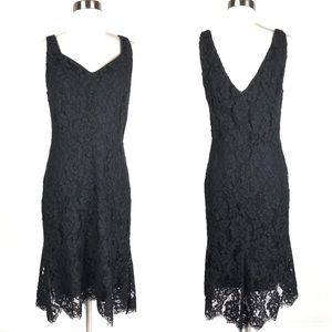DKNY dress 8 black floral lace scallop ruffle d121